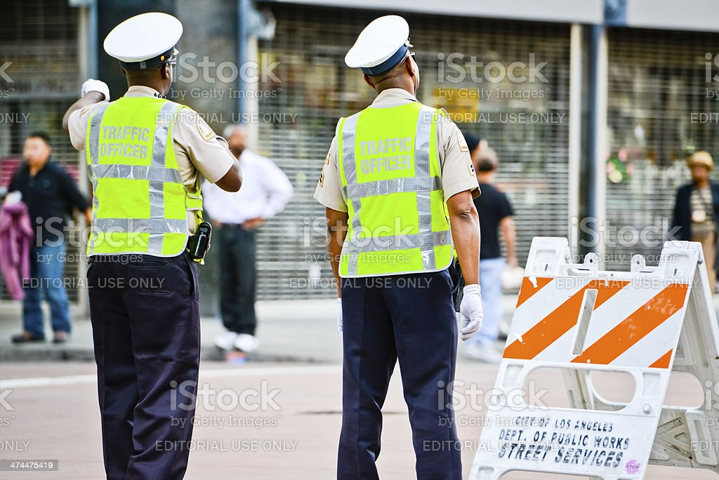 Traffic Officers on Los Angeles Street stock photo