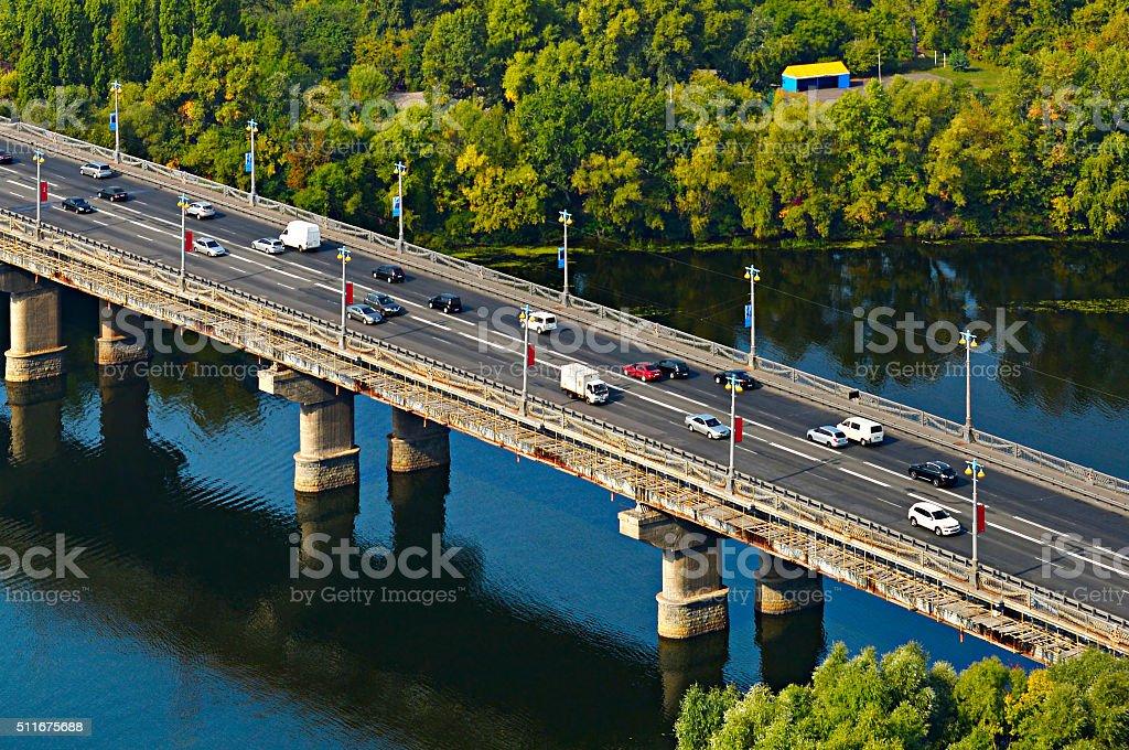 Traffic on a bridge stock photo