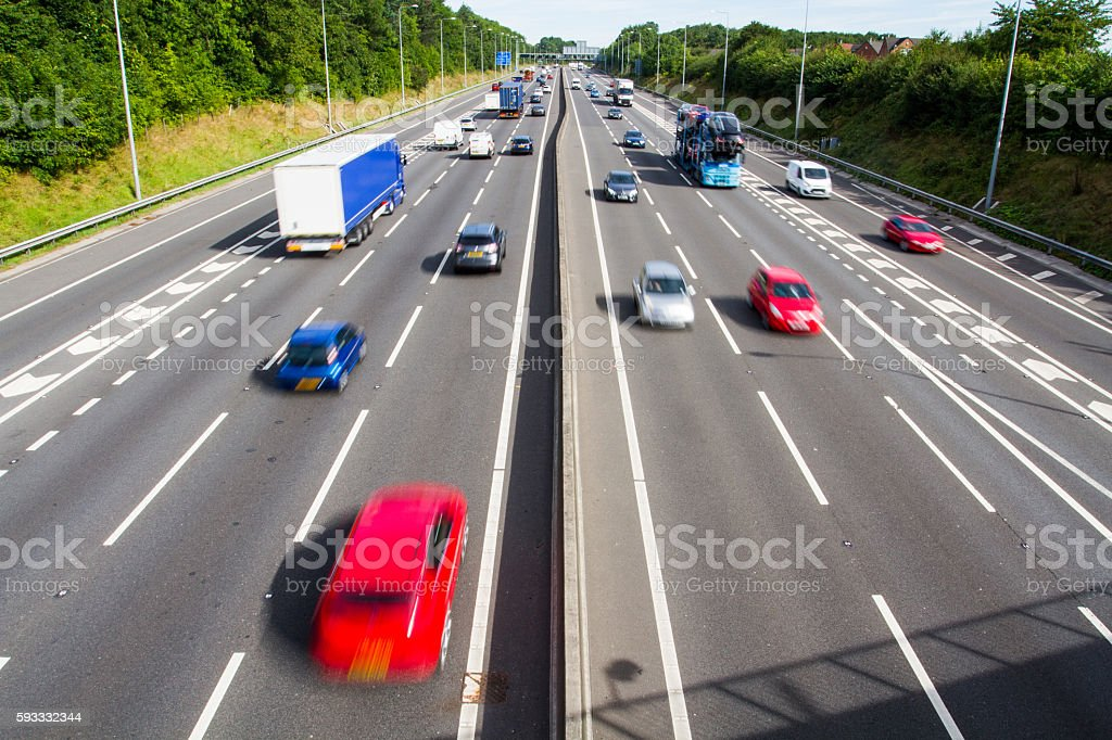 Traffic On A Busy Motorway stock photo