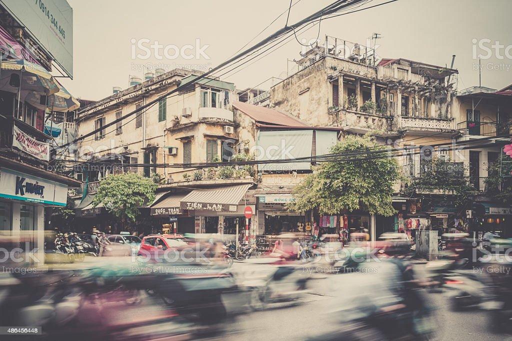 Traffic On A Busy Street Of Hanoi, Vietnam stock photo