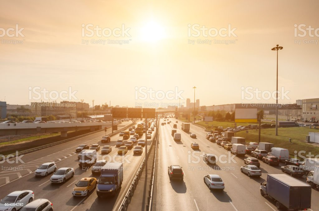 Traffic on a highway stock photo