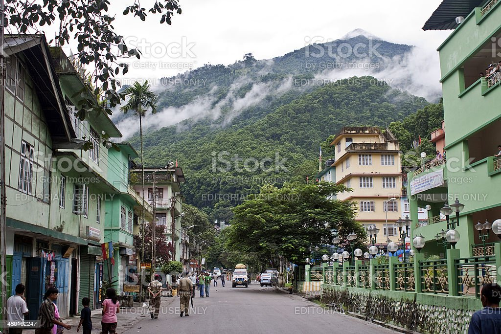 Traffic on a street in Jorethang royalty-free stock photo
