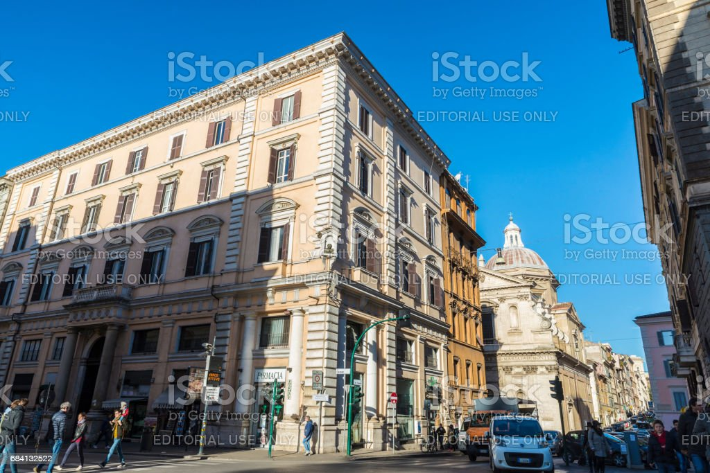 Traffic on a street in Rome, Italy stock photo