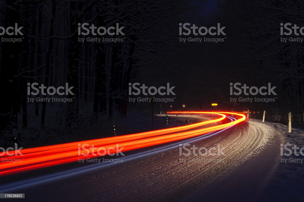 Traffic on a wintry road royalty-free stock photo
