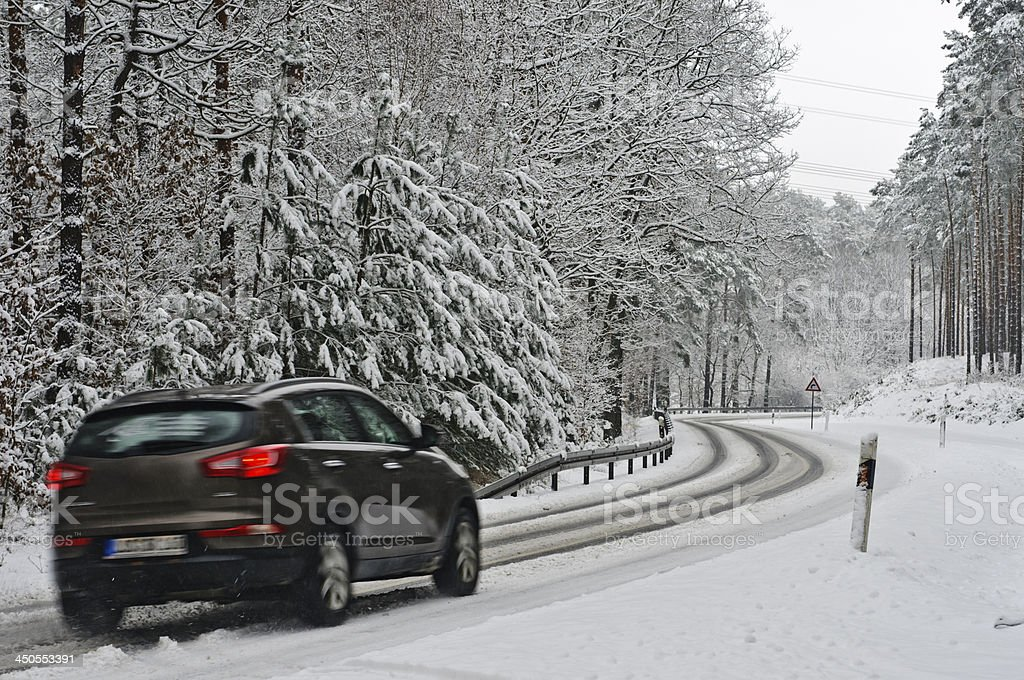 Traffic on a wintry road stock photo