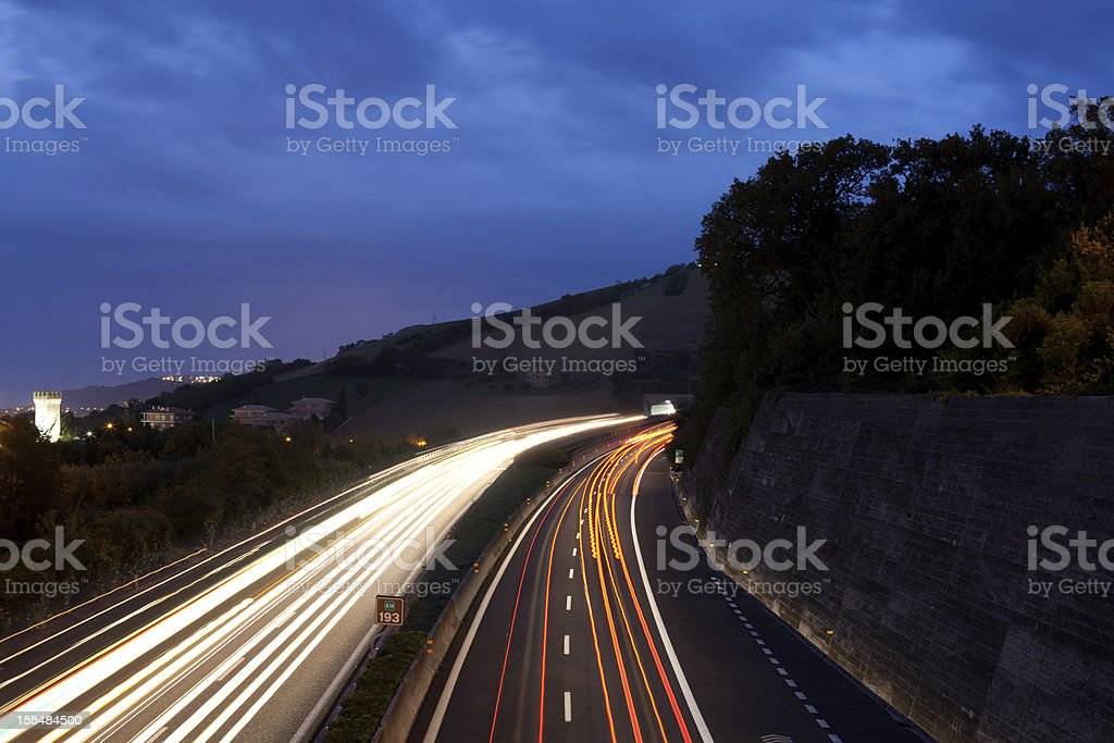 Traffic on A14 Highway, light trails Italy royalty-free stock photo