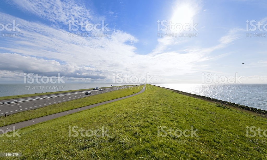 traffic on Afsluitdijk in The Netherlands royalty-free stock photo