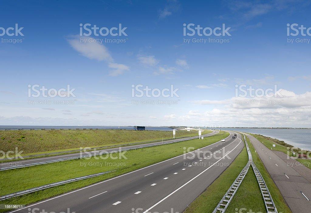 traffic on Afsluitdijk The Netherlands royalty-free stock photo