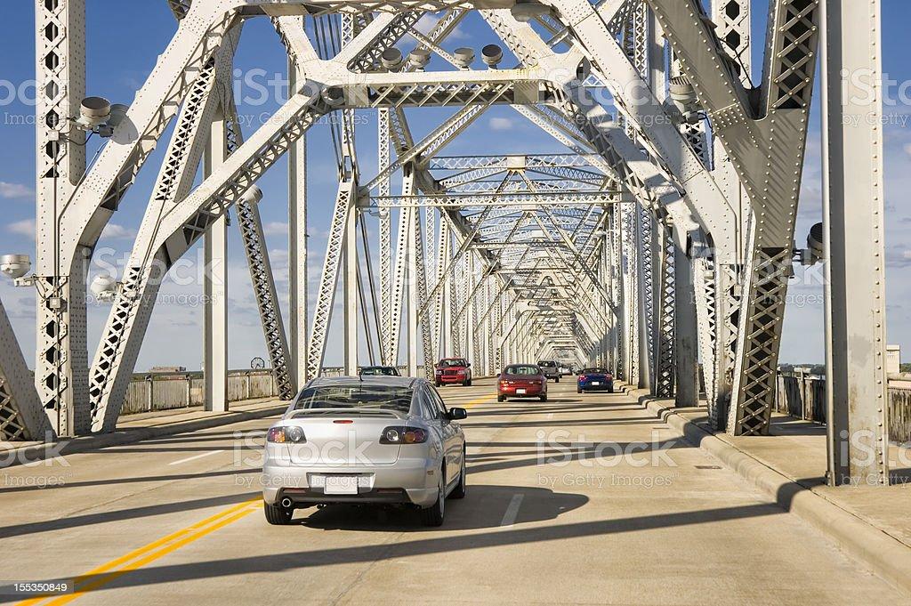 Traffic on American Interstate Highway Bridge, Louisville, Ky royalty-free stock photo