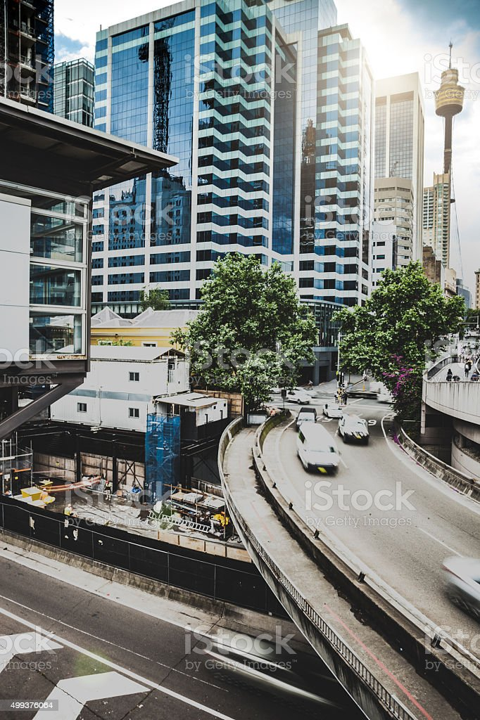 Traffic on an elevated road in Sydney CBD stock photo