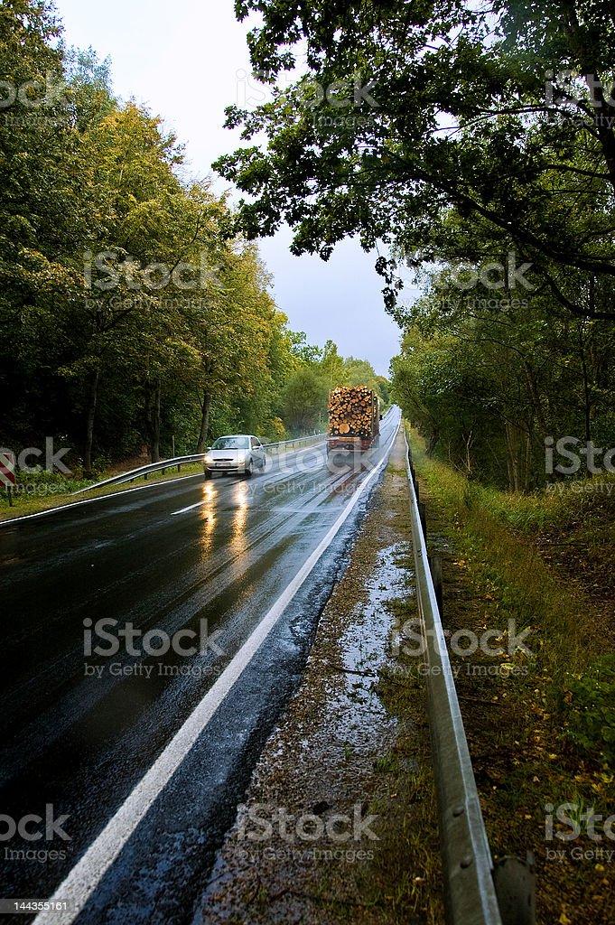 Traffic on autumn road 8183 royalty-free stock photo