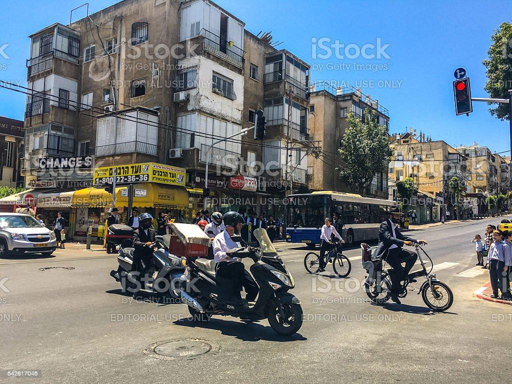 Traffic on Bnei Brak streets, Israel stock photo