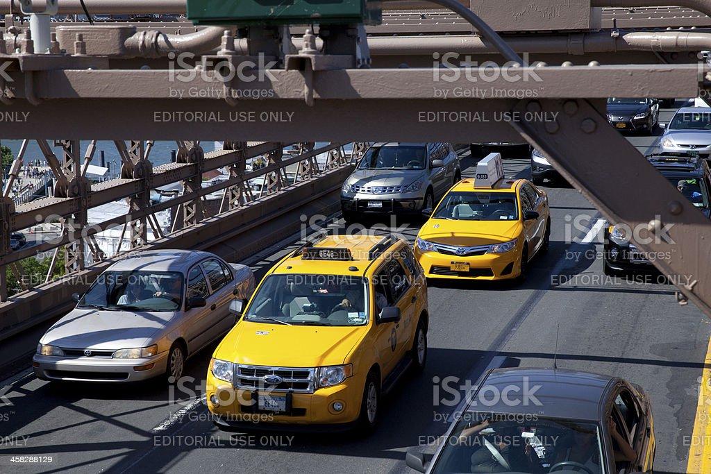 Traffic on Brooklyn bridge in New York City royalty-free stock photo