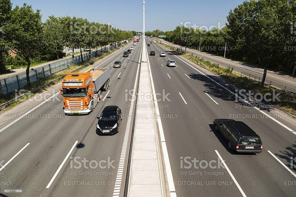 Traffic on Copenhagen highway stock photo