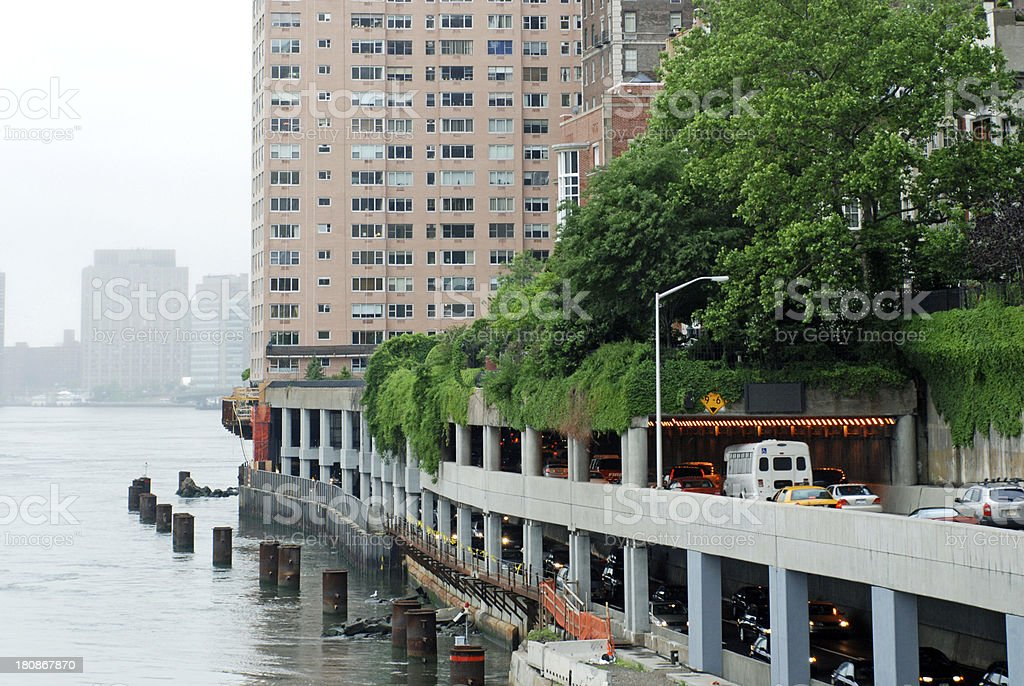 Traffic on FDR Drive along the East River in NYC royalty-free stock photo