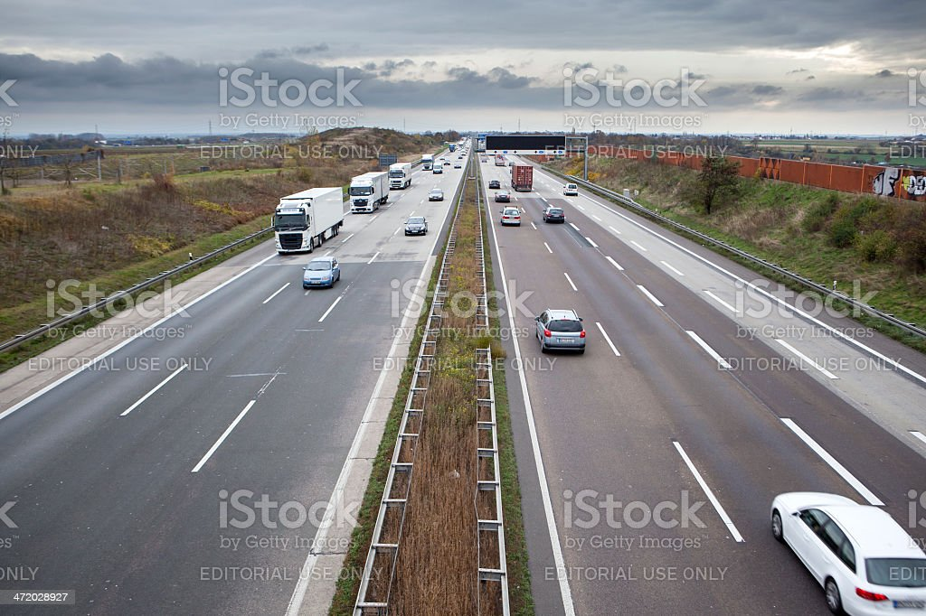Traffic on German autobahn A3 royalty-free stock photo