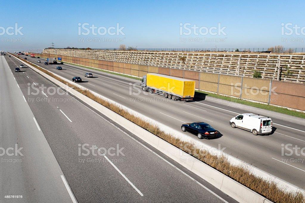 Traffic on german autobahn stock photo