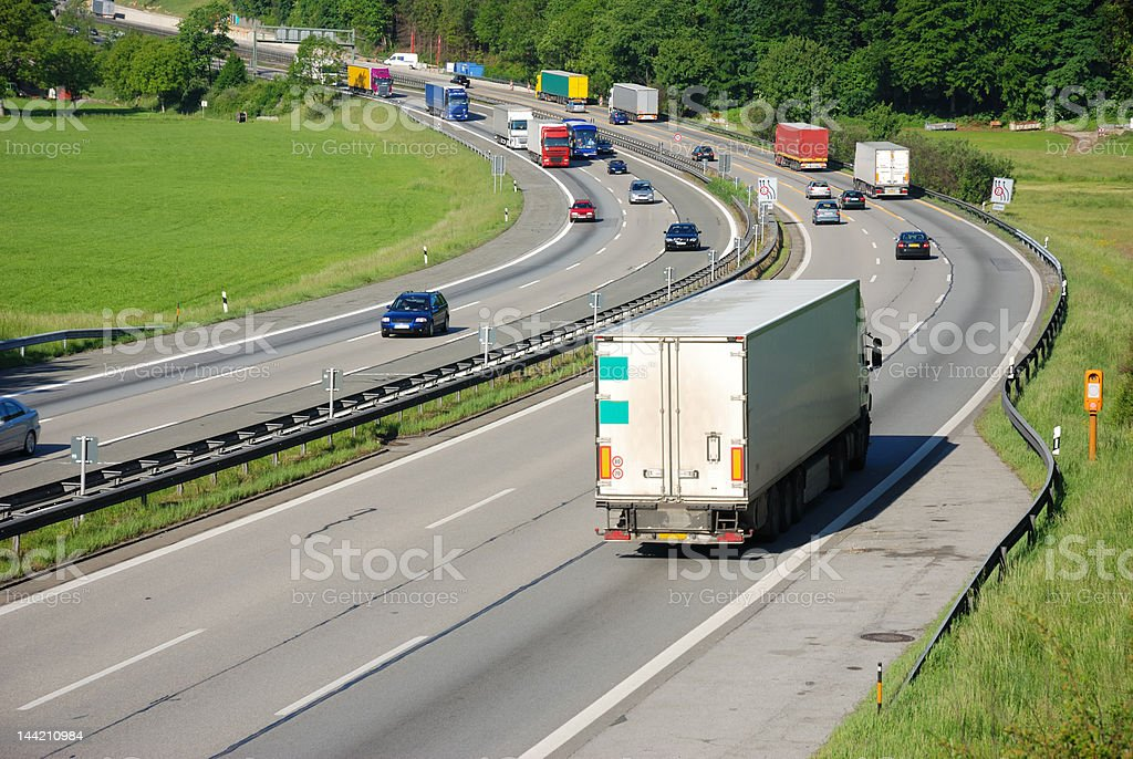 traffic on german autobahn,european cars and trucks royalty-free stock photo