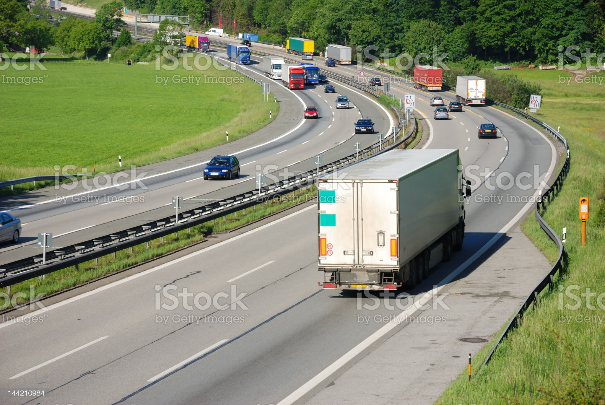 traffic on german autobahn,european cars and trucks royalty-free stock photo