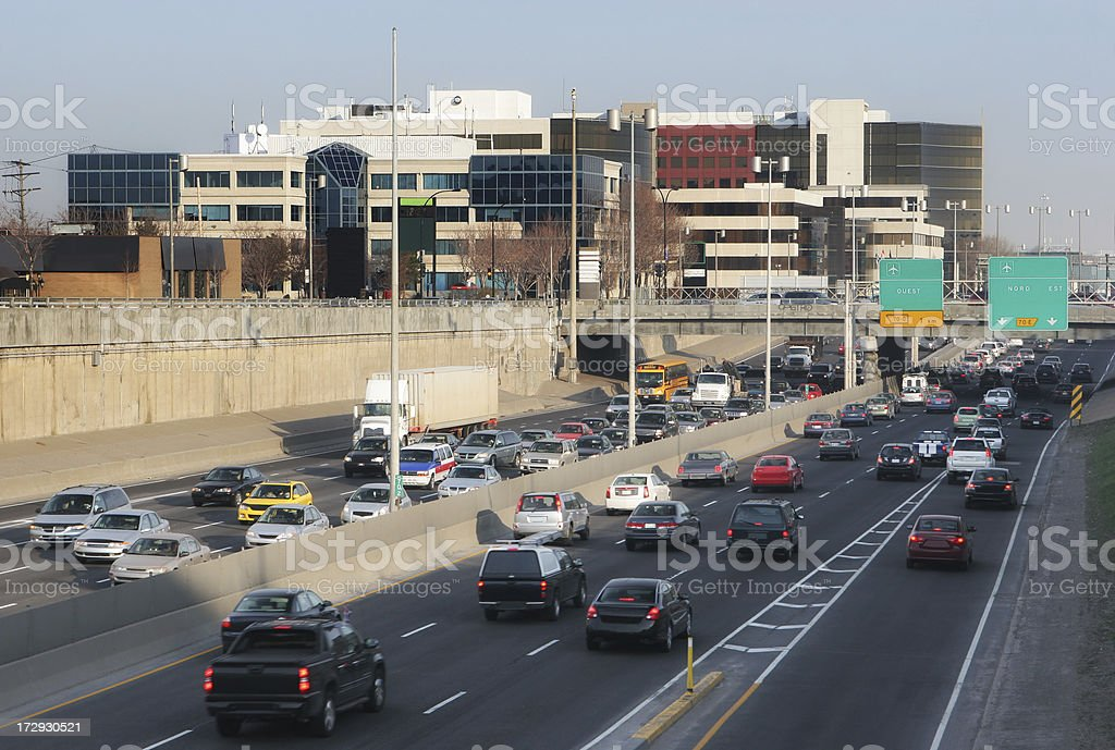 Traffic on highway in Montreal city royalty-free stock photo