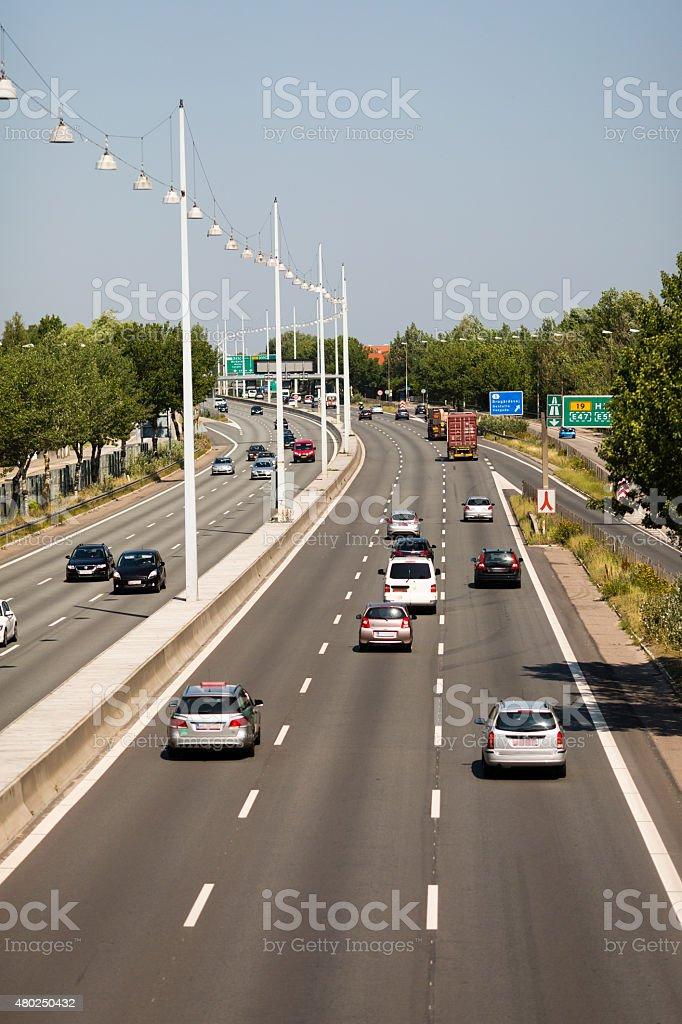 Traffic on highway stock photo