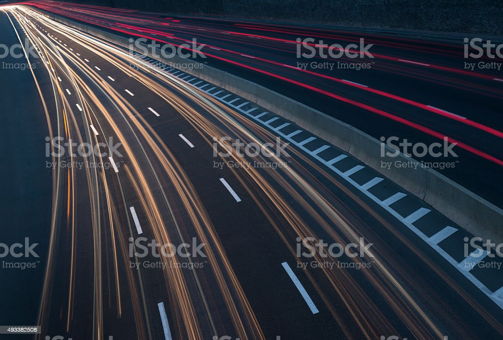 Traffic on highway stock photo