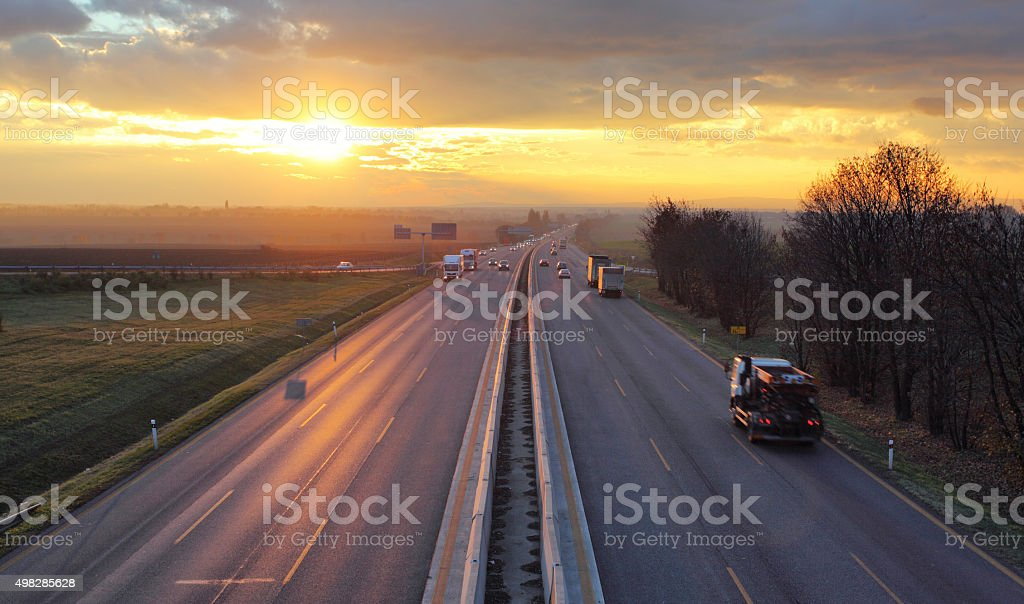Traffic on highway with cars. stock photo