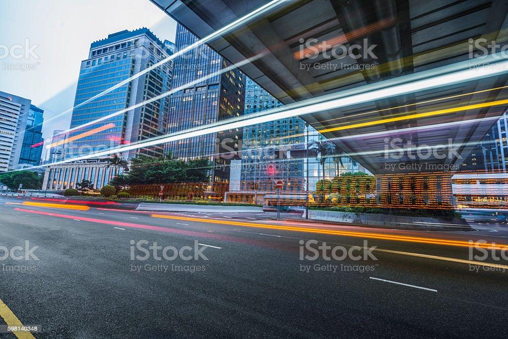traffic on inner city street, hong kong stock photo