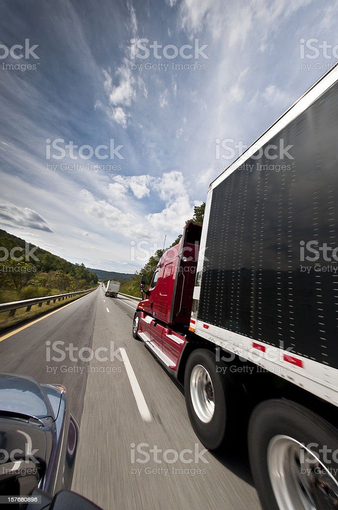 Traffic On Interstate Highway royalty-free stock photo