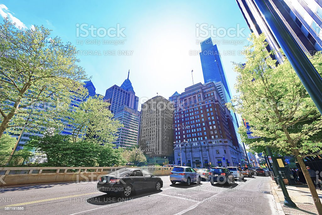Traffic on JFK boulevard and Penn Center with skyscrapers stock photo