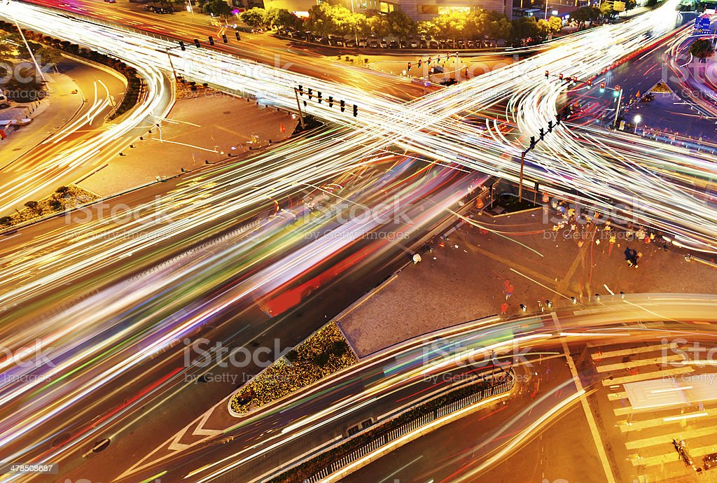 traffic on junction in city stock photo