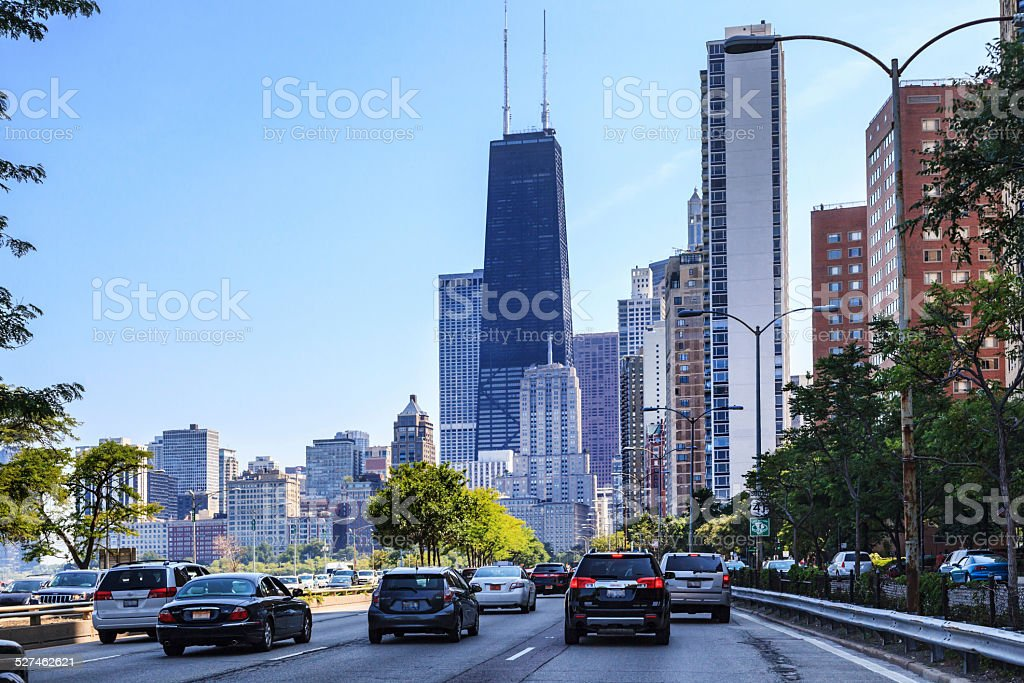 Traffic on Lake Shore Drive in Chicago stock photo