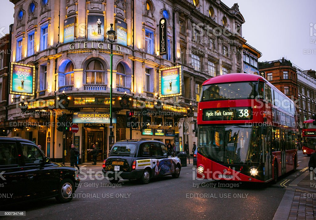 Traffic on London's Shaftesbury Avenue stock photo