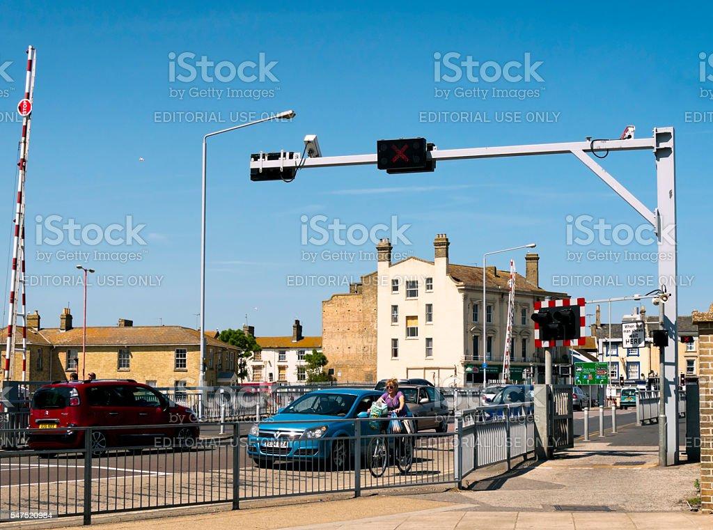 Traffic on Lowestoft's bascule road bridge stock photo