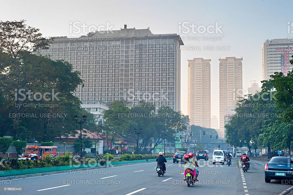 Traffic on Manila Downtown road stock photo