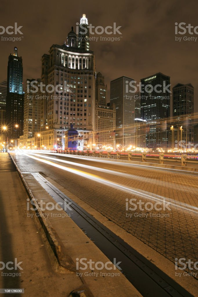 Traffic on Michigan Avenue and Chicago Skyline at Night royalty-free stock photo