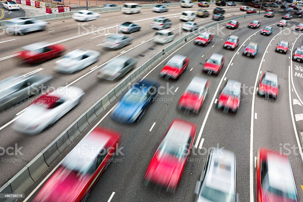 Traffic on multiple lane highway with motion blur stock photo
