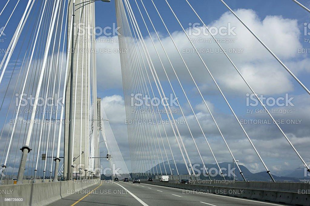 Traffic on Port Mann Bridge, British Columbia, Canada in Summer stock photo