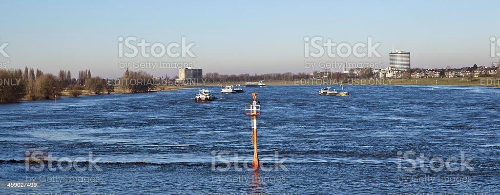 traffic on Rhine river royalty-free stock photo