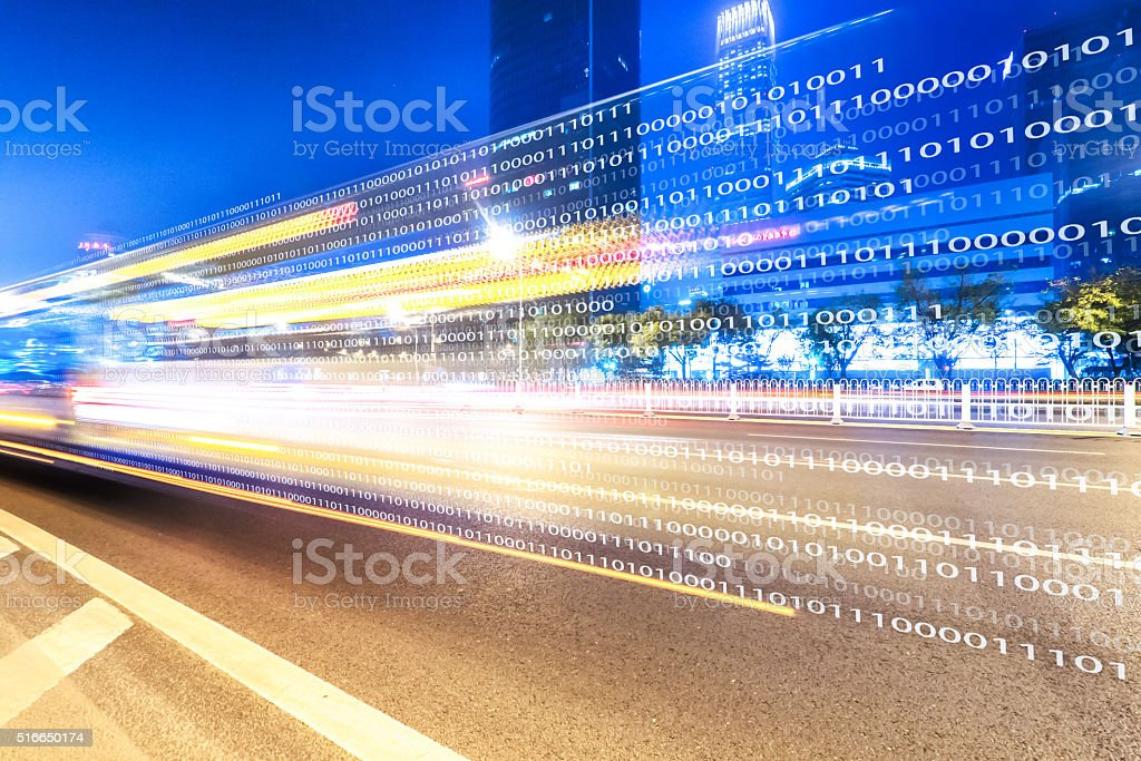 traffic on road and buildings in beijing stock photo