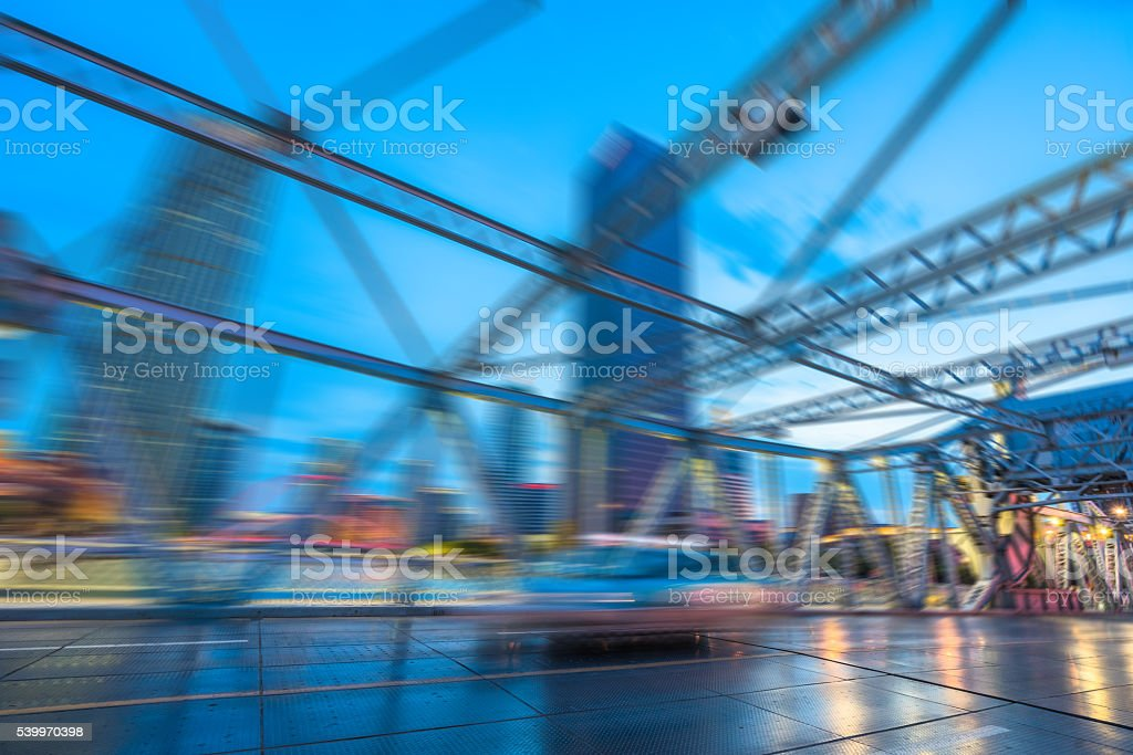 traffic on steel bridge stock photo