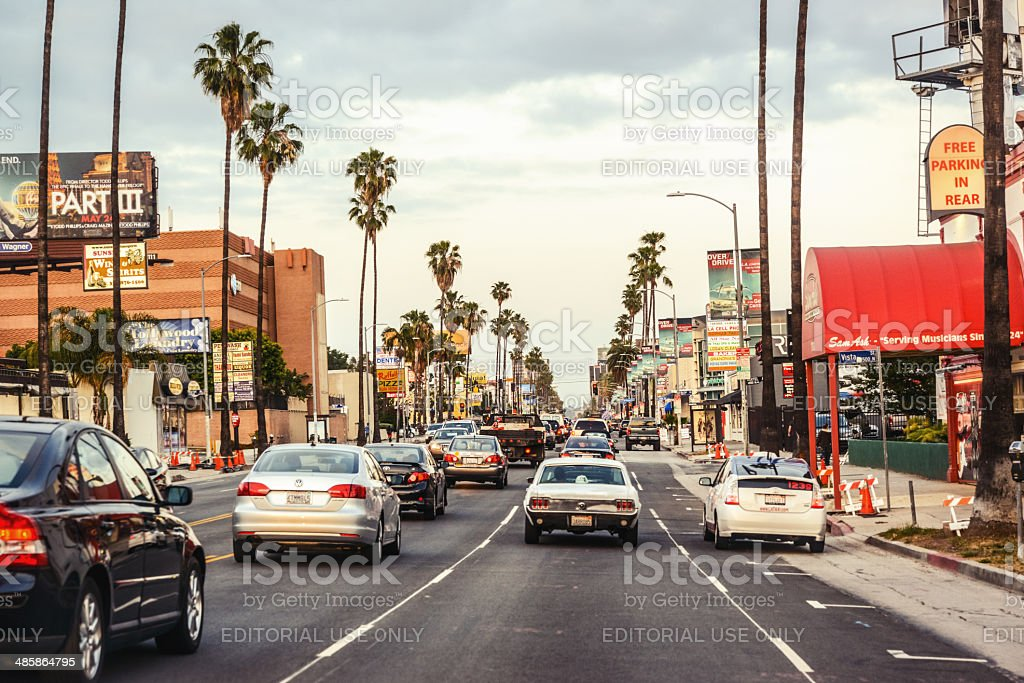 Traffic on Sunset Boulevard, Hollywood, Los Angeles stock photo