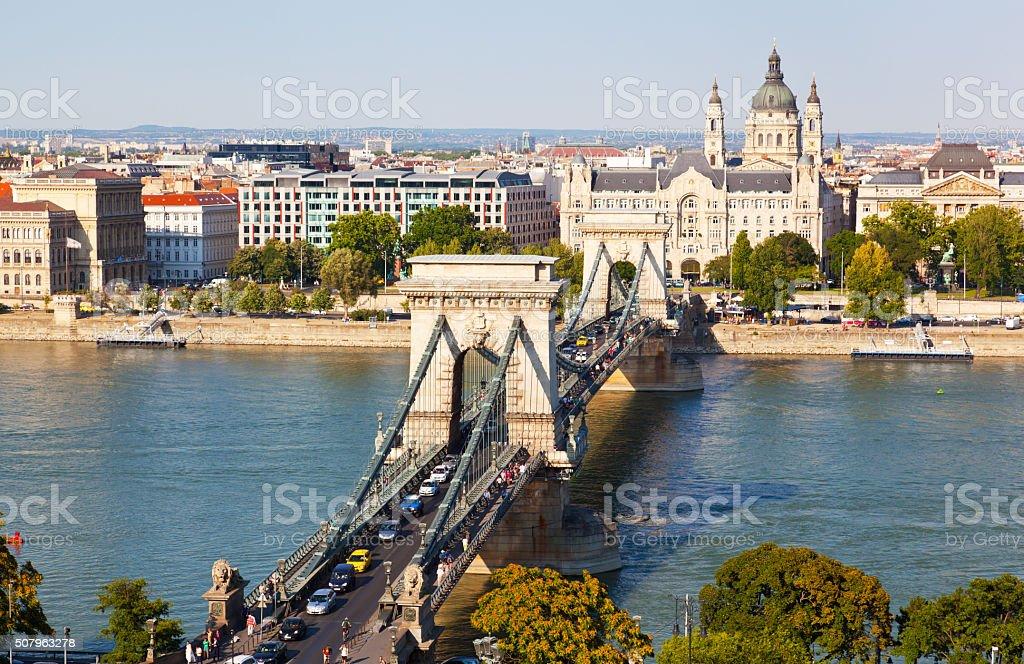 Traffic on Szechenyi Chain Bridge in Budapest, Hungary stock photo