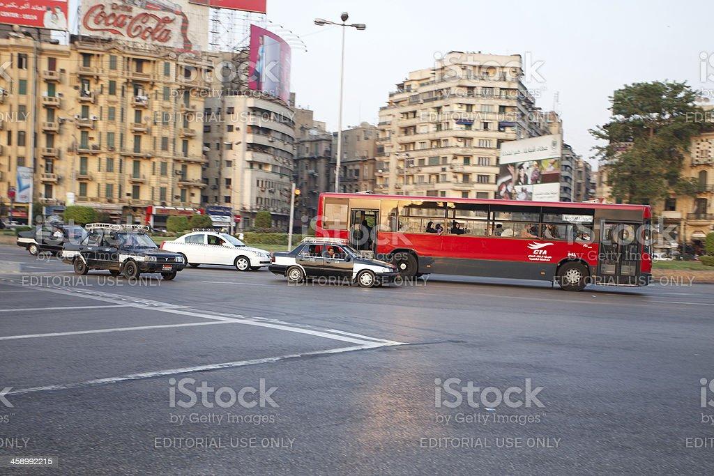Traffic on Tahrir square, Cairo stock photo