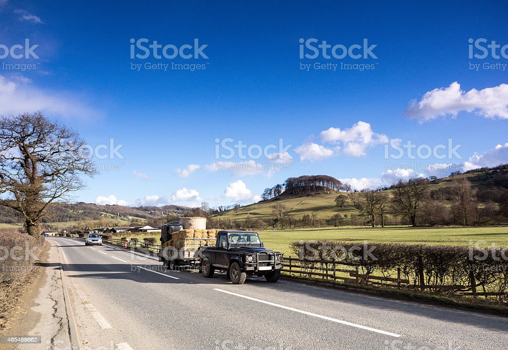 Traffic on the A6 in Derbyshire stock photo