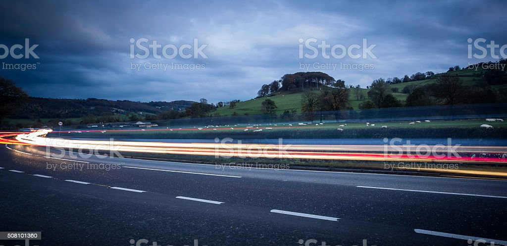 Traffic on the A6 stock photo