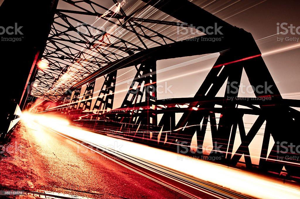 Traffic on the Bridge, Cremona, Italy stock photo