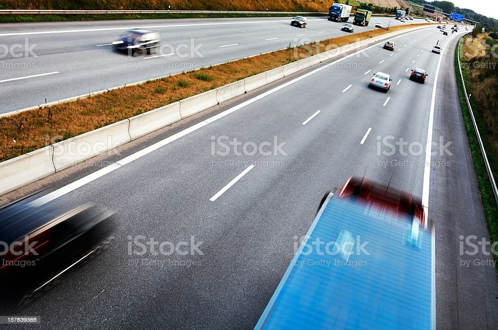 Traffic on the freeway royalty-free stock photo