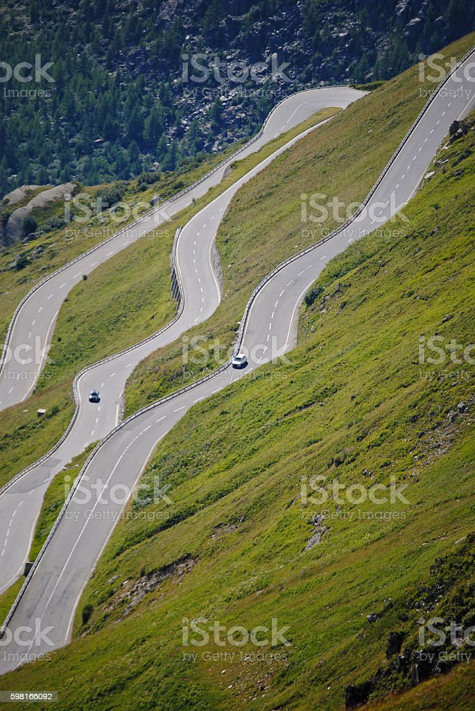 Traffic on the Furka pass stock photo