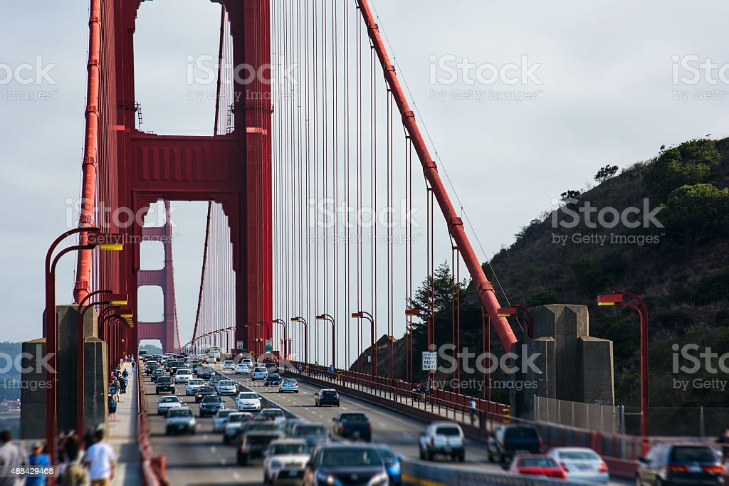 Traffic on the Golden Gate Bridge stock photo
